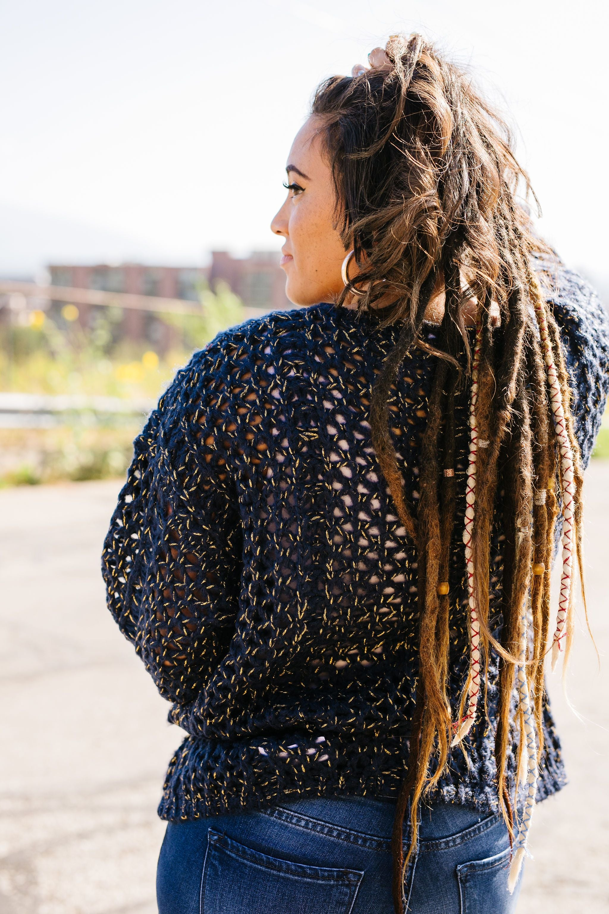 Threaded With Gold Open Weave Sweater