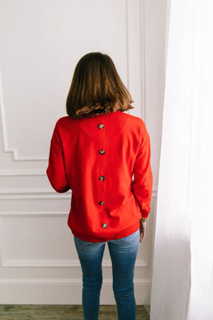 Top 'O The Mornin' Sweater In Poppy - ALL SALES FINAL