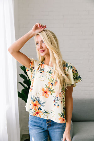 Tropical Paradise Blouse In Cream - ALL SALES FINAL