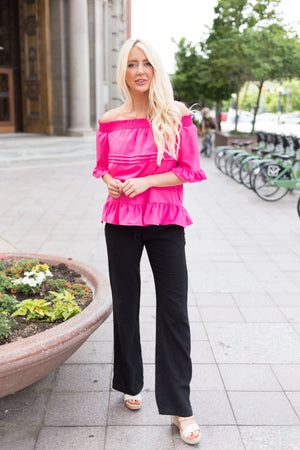 Tucks + Ruffles Off Shoulder Top In Carnation Pink