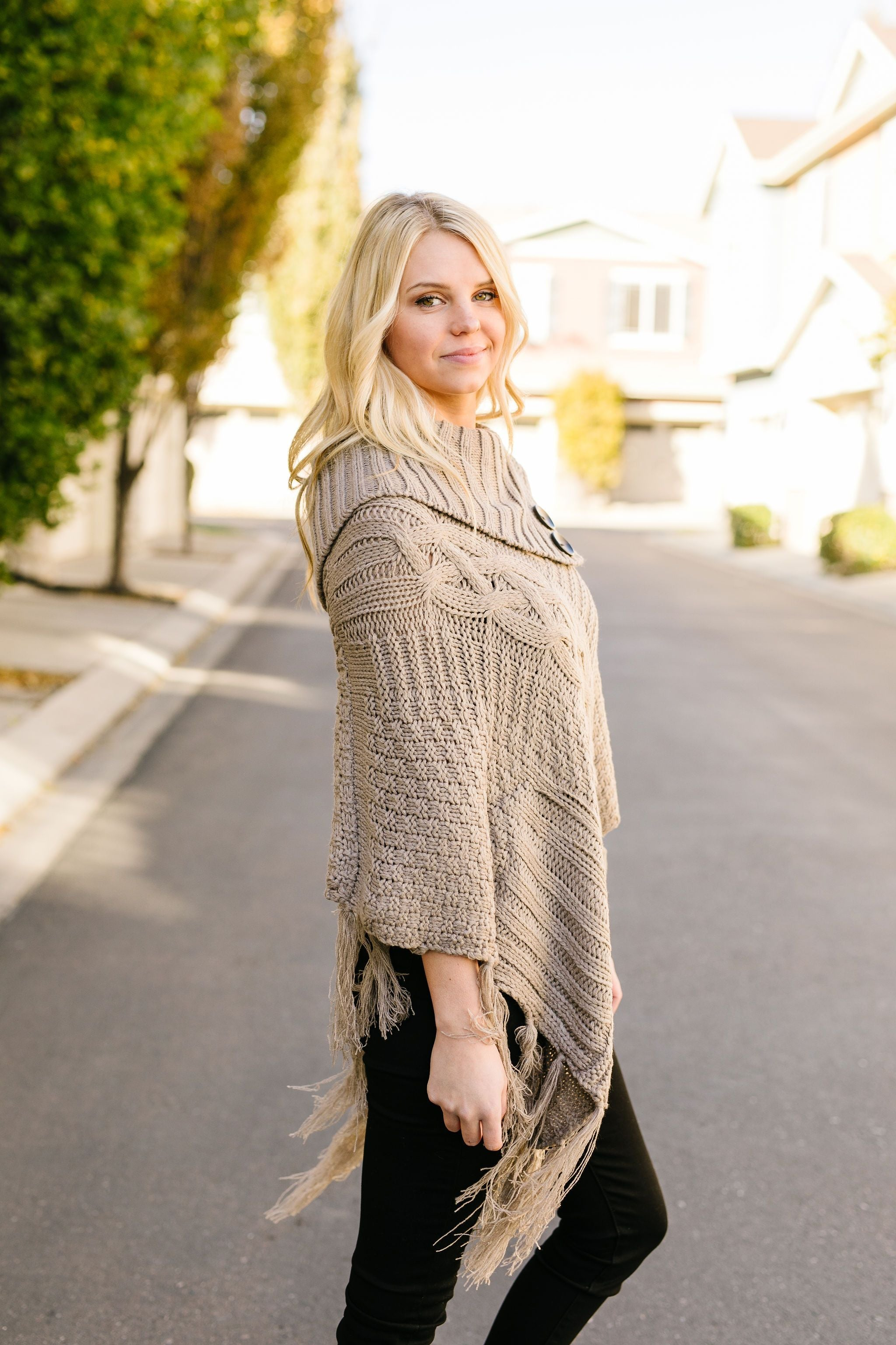 Working Overtime Sweater Poncho In Mocha