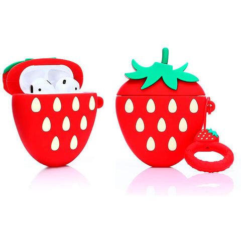 Estuche Protector 3D para AirPods 1 y 2 Strawberry Kawaii Frutilla