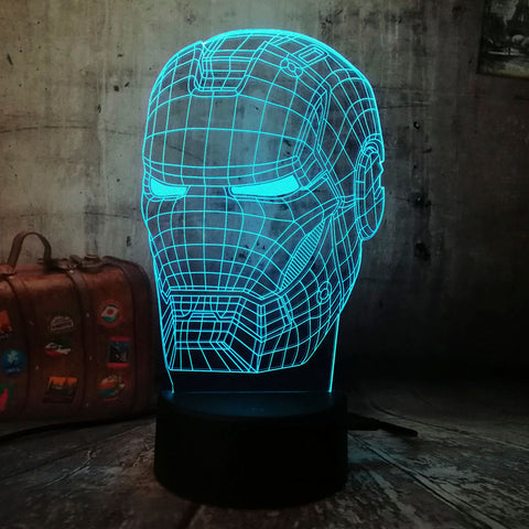 Lámpara Led Efecto 3D Casco Iron Man