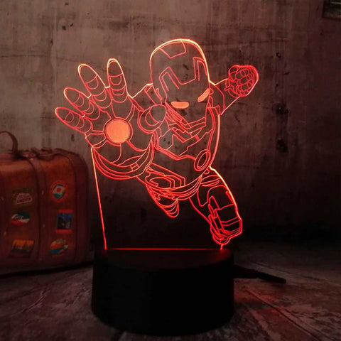 Lámpara Led Efecto 3D Iron Man