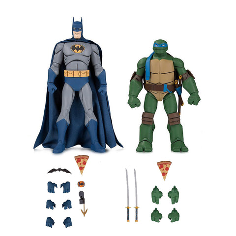 Figura de Acción DC Collectibles Exclusivo Batman vs TMNT: Batman y Leonardo - Set de 2