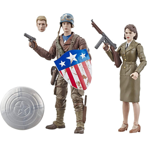 Marvel Legends Series 6-Pulgadas Captain America The First Avenger: Captain America y Peggy Carter - Set de 2