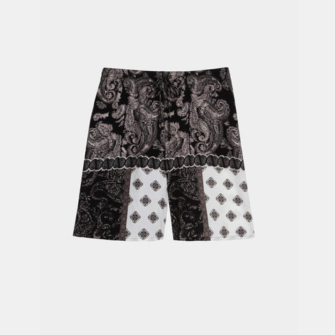PAISLEY PRINT BW LONG DRAWSTRING SHORTS