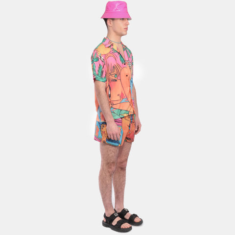CAMISA LADY ON THE BEACH PRINT SHORT SLEEVE