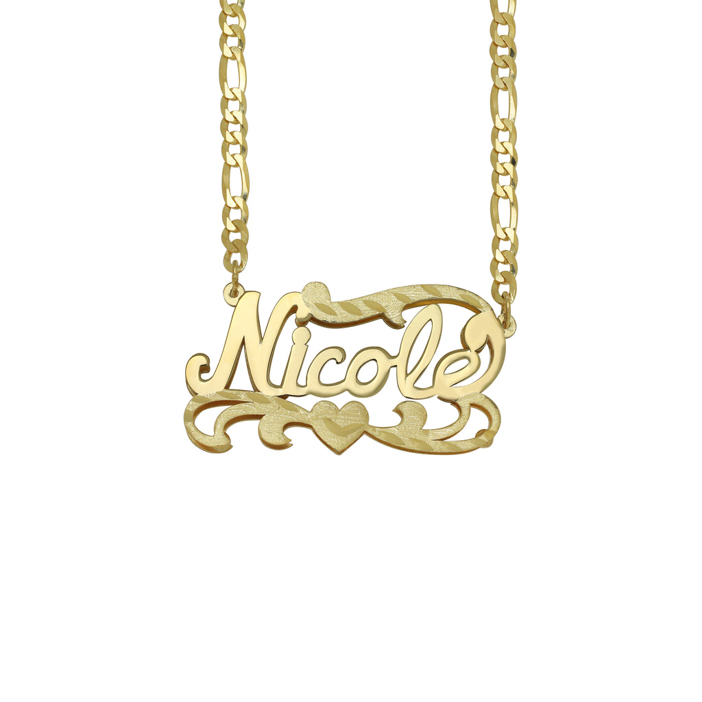Kids Double Plated Name Necklace with Figaro Chain