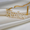 Kids Double Plated Gothic  Name Necklace with Cuban Chain