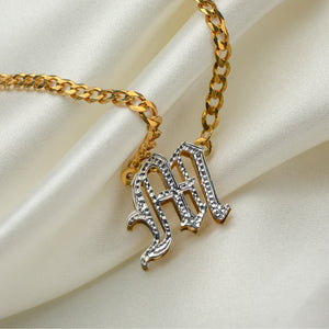 Kids Double Plated Gothic Initial Necklace with Cuban Chain