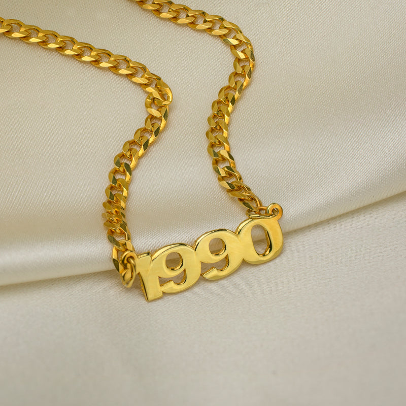 Kids Mini Year Necklace with Cuban Chain