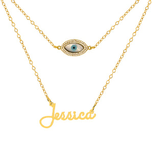 Sophia Name Necklace with Layered Charm