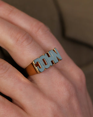 Bubble Letter Name Ring