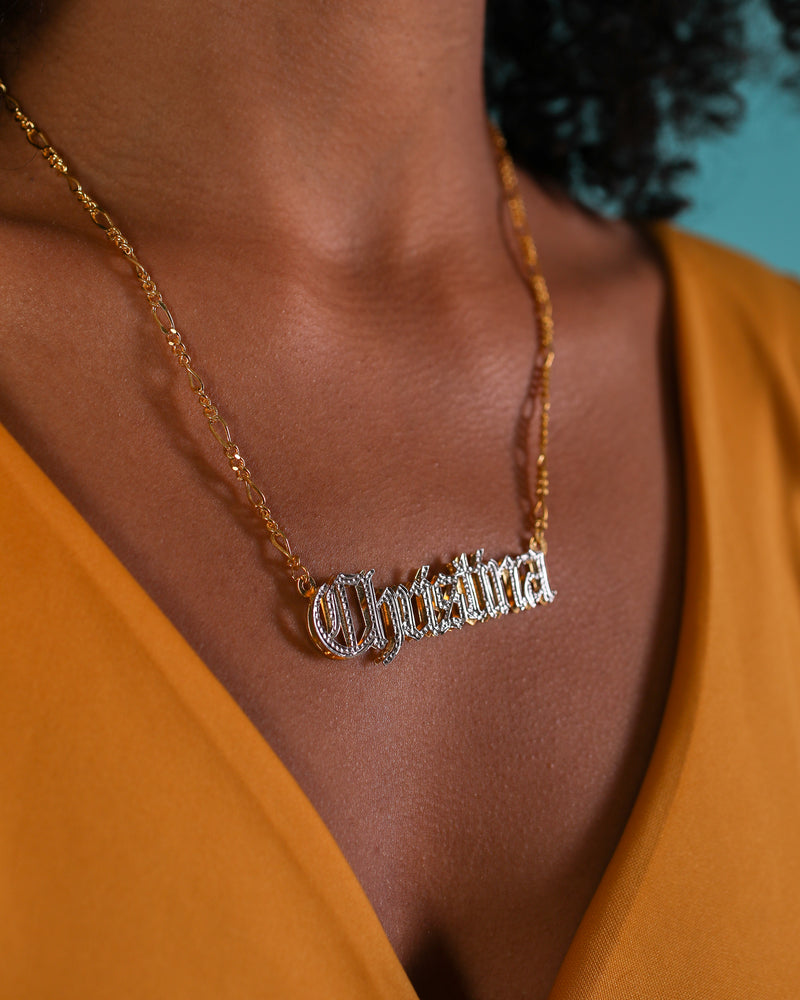 Double Plated Gothic Angelina Style Name Necklace
