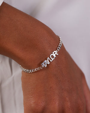 Block Mini Name Bracelet with Cuban Chain