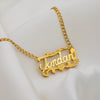 Kids Double Plated Name Necklace with Cuban Chain