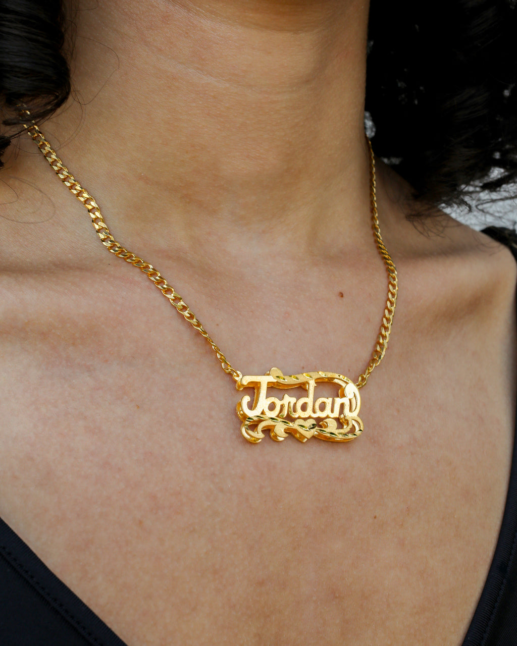 Double Plated Name Necklace with Cuban Chain