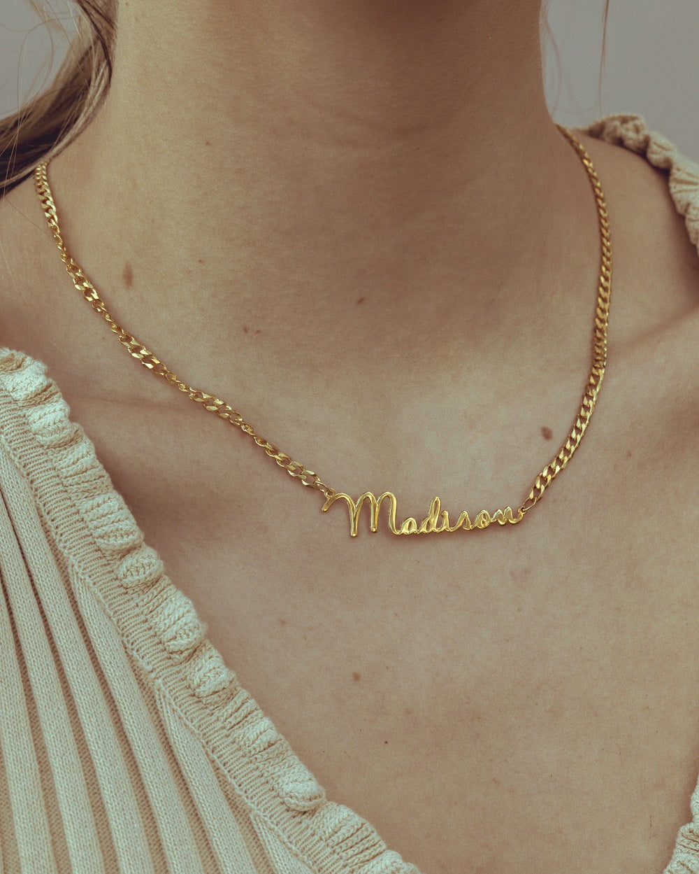 Script Name Necklace with Cuban Chain