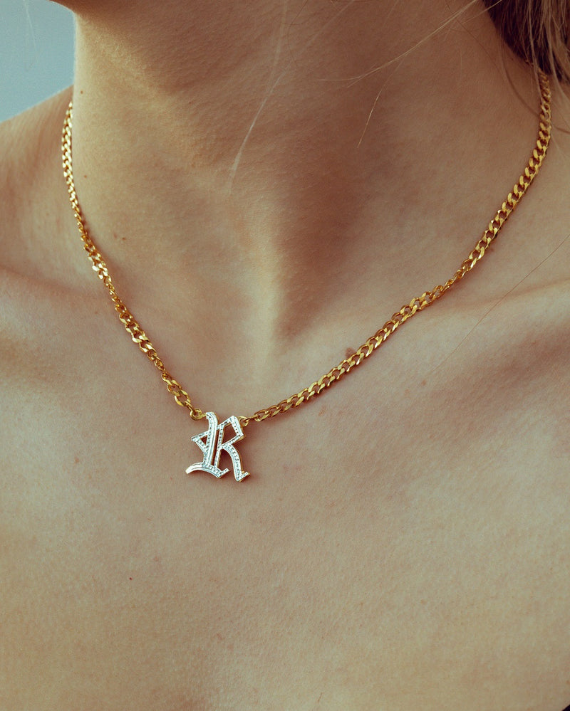 Double Plated Gothic Initial Necklace with Cuban Chain