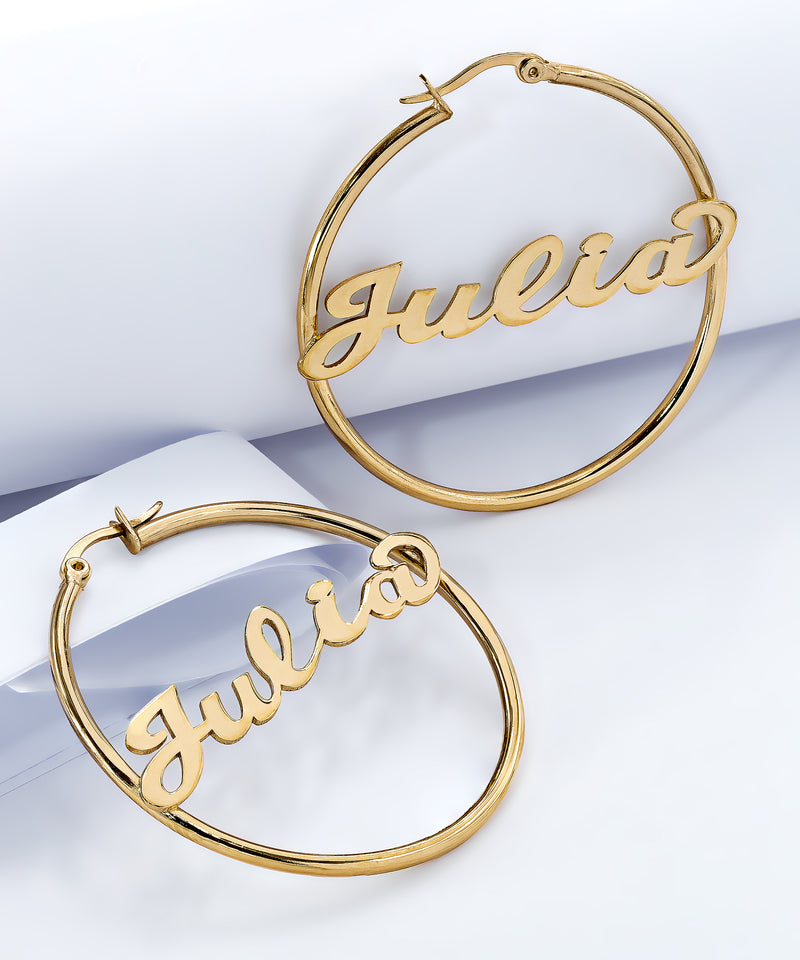 Script Name Hoop Earrings