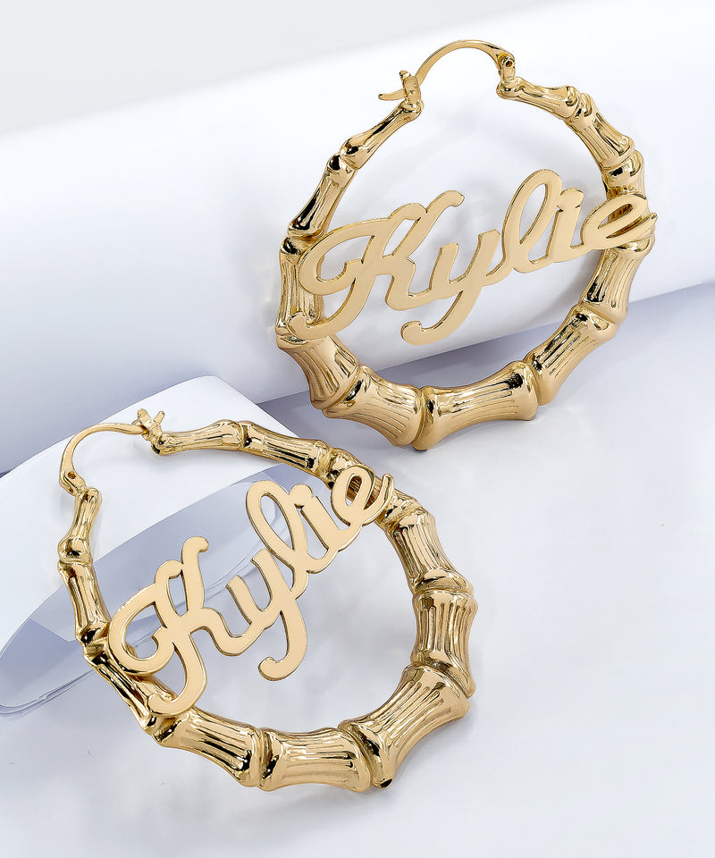 Bamboo Cursive Name Earrings