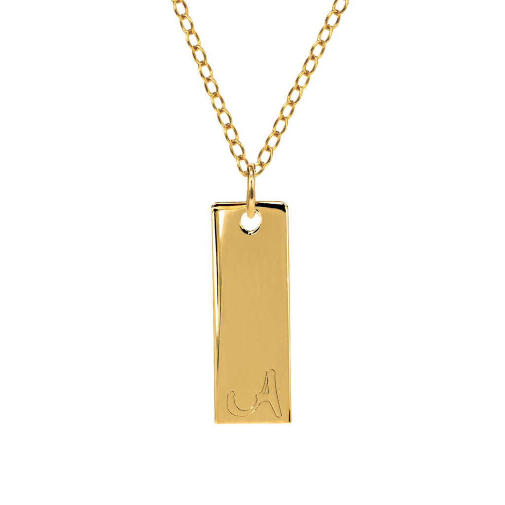 Mini Bar Necklace With Engraved Initial