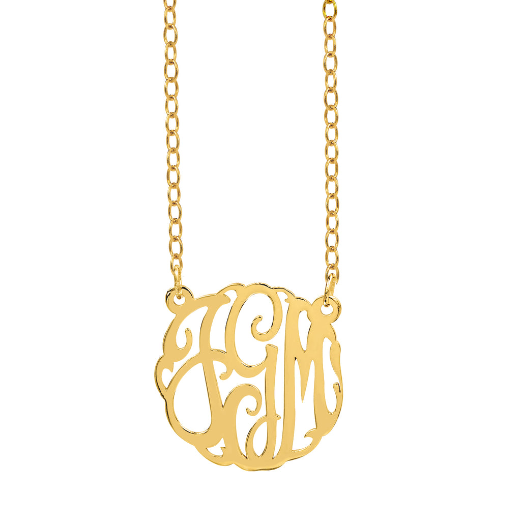 Classic Swirly Monogram Necklace