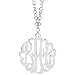 Extra Large Monogram Necklace with 36 Inch Link Chain