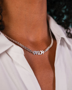 Block Mini Name Necklace with Cuban Chain