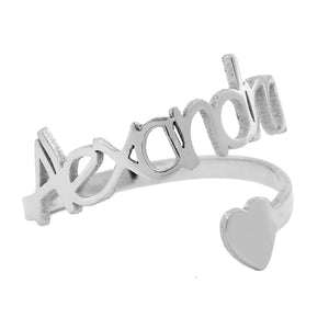 Name Ring with Twirly Heart