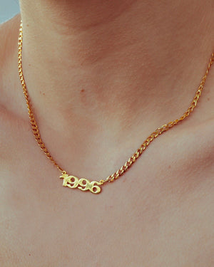 Mini Year Necklace with Cuban Chain