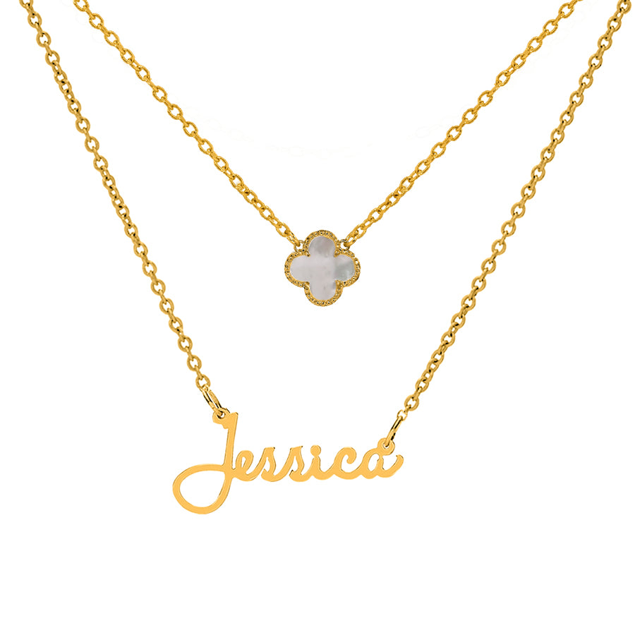 "Name Necklace ""The Jessica"" with Clover Pendant"