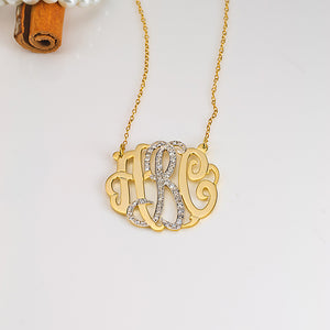 Monogram Pendant with Cubic Zirconia