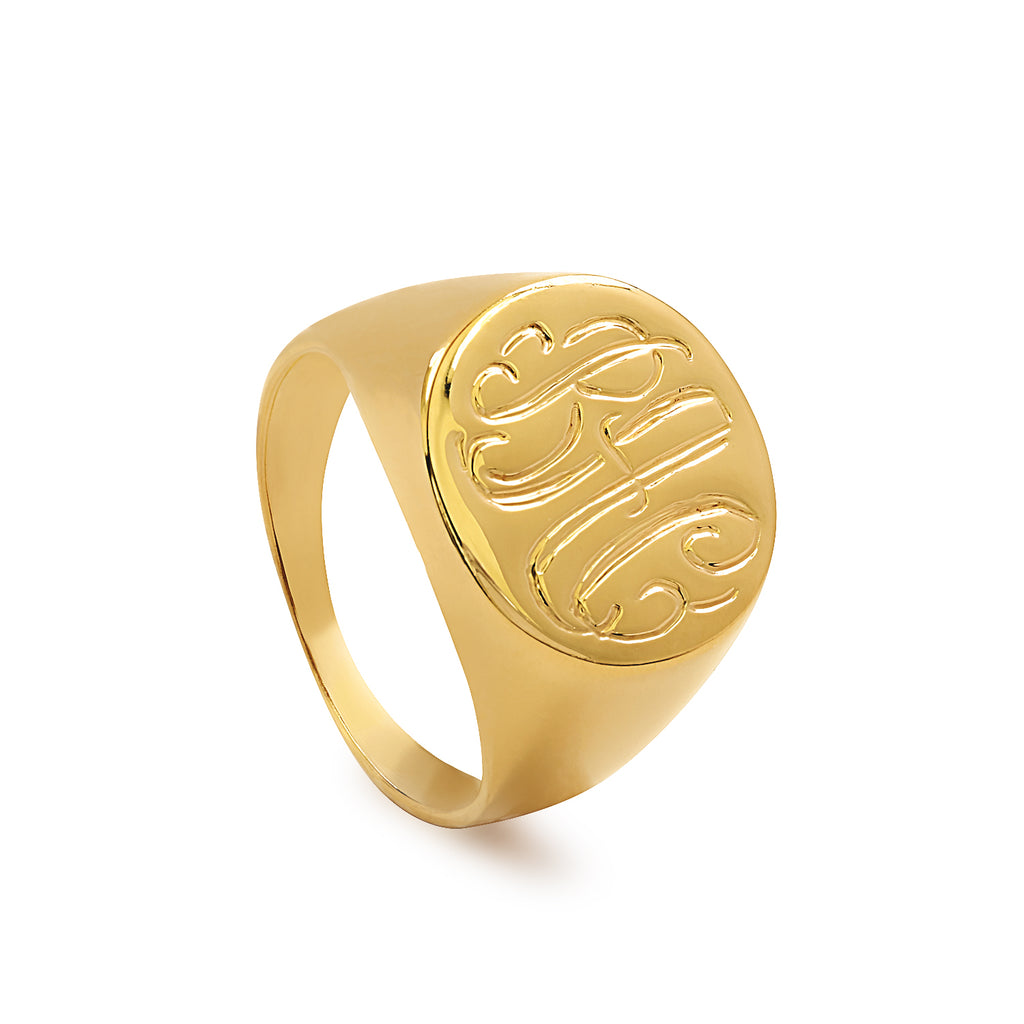 Oval Engraved Signet Monogram Ring