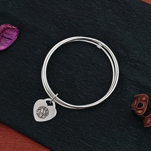 Slip On Engraved Heart Shaped Monogram Bracelet