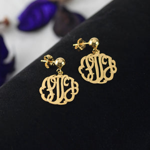 Handmade Script Monogram Earrings 5/8""
