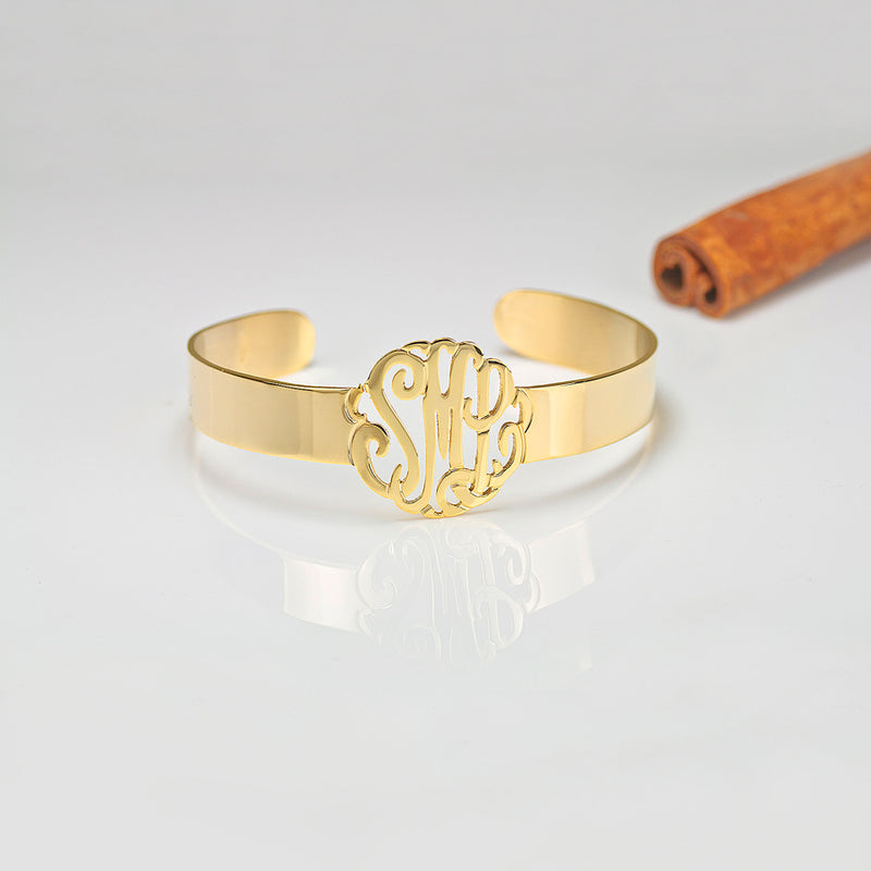Cut Out Monogram Cuff Bracelet