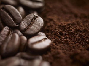 Almond Amaretto coffee beans grounds