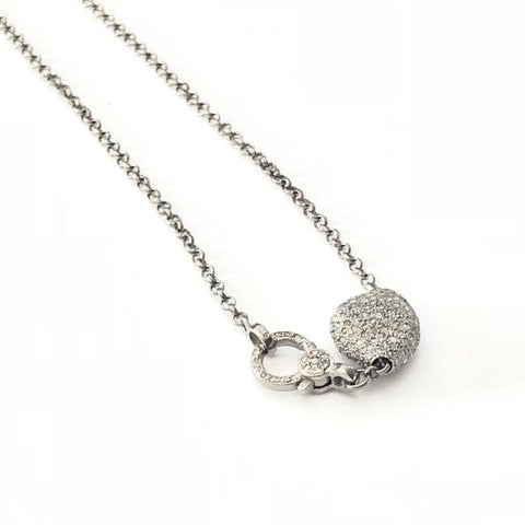 DIAMOND PEBBLE BEAD NECKLACE WITH PAVE LOBSTER CLASP - A.FIER LIFESTYLE