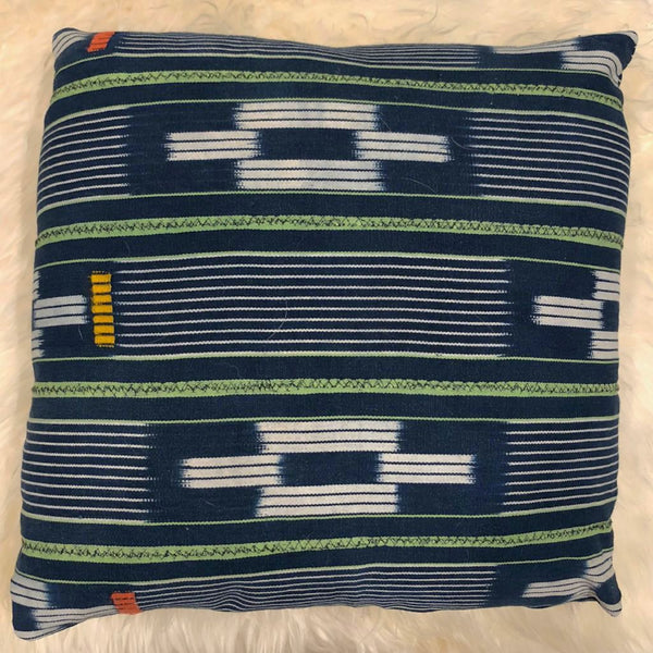 NAVY BOULE PILLOWS WITH GREEN STRIPES - A.FIER LIFESTYLE