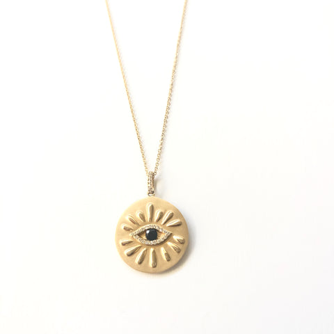 Large Evil Eye Gold Coin Necklace