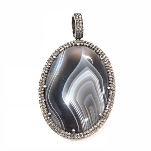BLACK SWIRL JASPER AND DOUBLE DIAMOND PENDANT - A.FIER LIFESTYLE