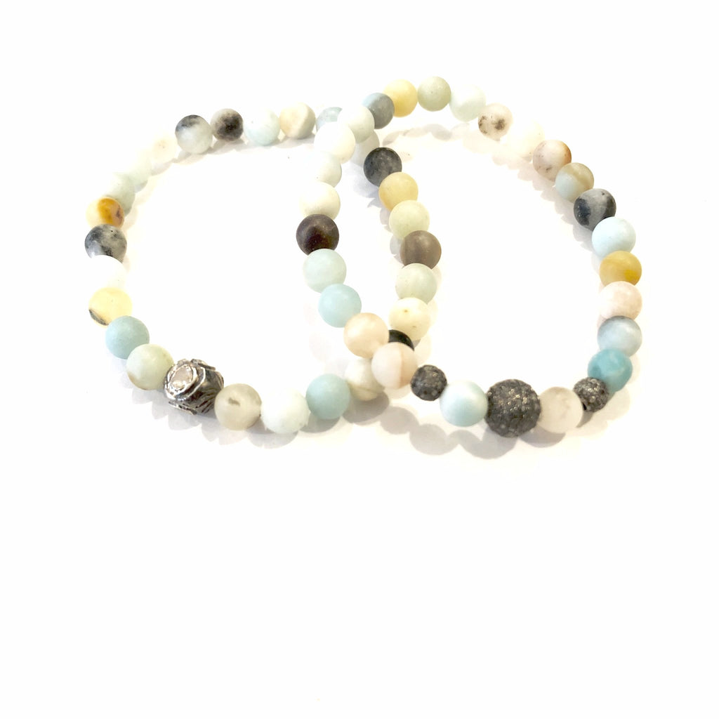 SMALL MIXED AMAZONITE WITH PAVE DIAMOND BEAD BRACELETS - A.FIER LIFESTYLE