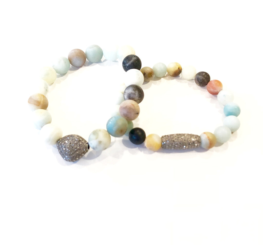 MIXED AMAZONITE WITH PAVE DIAMOND BEAD BRACELETS - A.FIER LIFESTYLE