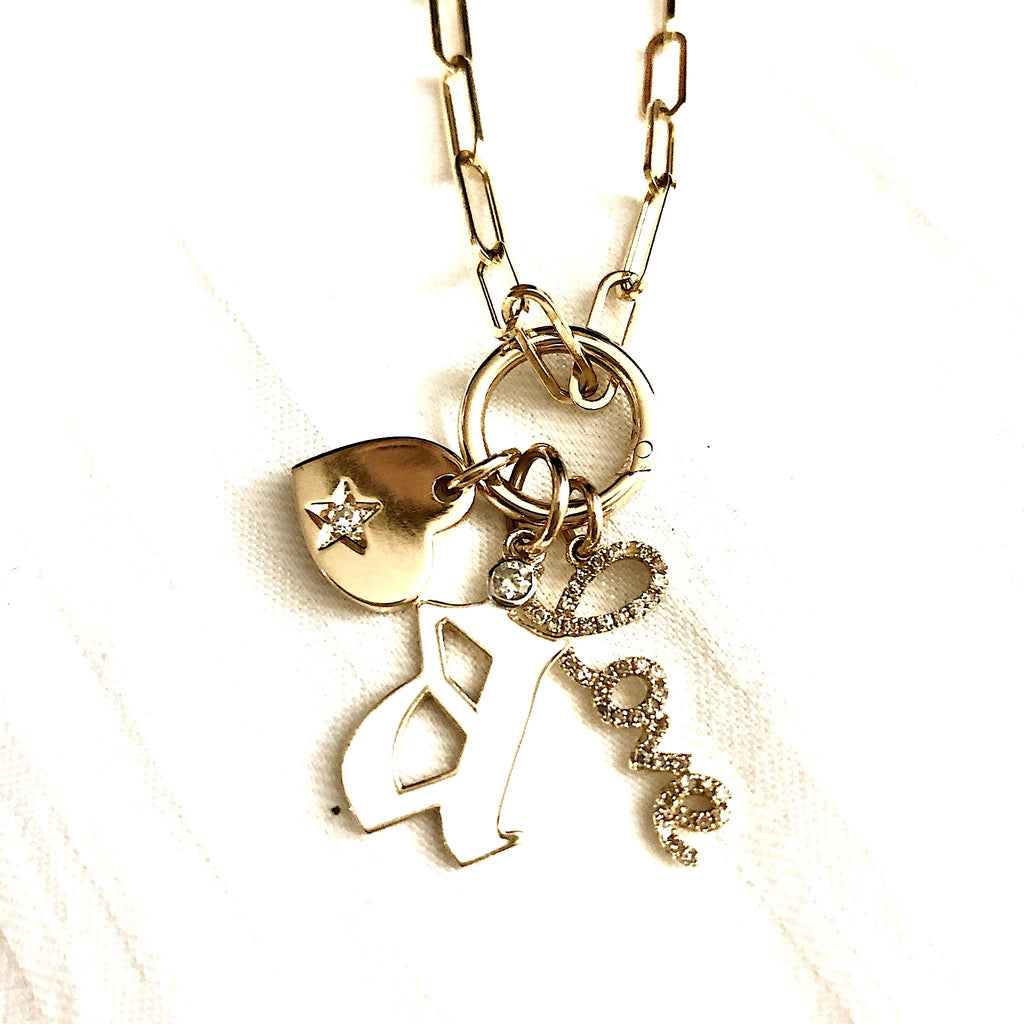 GOLD HEART+GOTHIC LETTER+LOVE CHARM COMBO