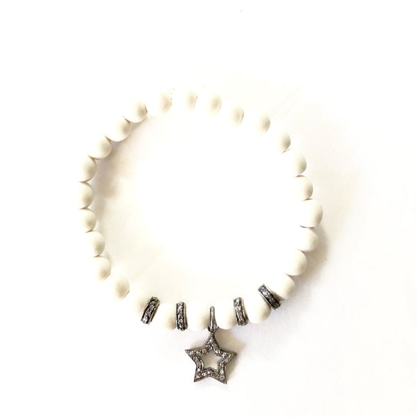 WHITE WOOD WITH PAVE DIAMOND STAR CHARM - A.FIER LIFESTYLE