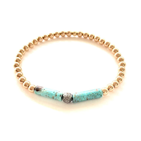 14k GOLD BALL BRACELET WITH TURQUOISE AND DIAMOND BALL - A.FIER LIFESTYLE