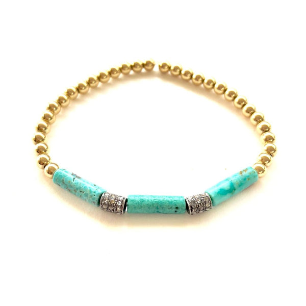 14k GOLD BALL BRACELET WITH TURQUOISE AND DIAMOND CONES - A.FIER LIFESTYLE
