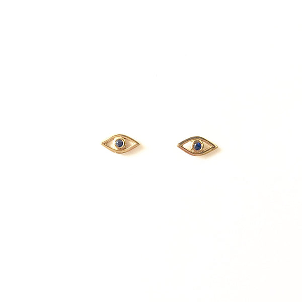 14k Gold Evil Eye Studs with Sapphire - A.FIER LIFESTYLE
